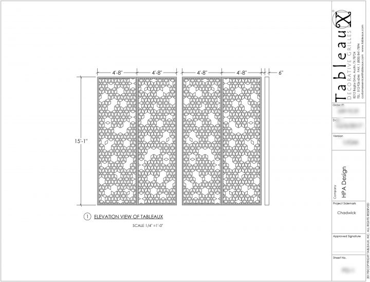 Tabelaux decorative grilles preliminary drawing for The Ruby at Chadwick Commons