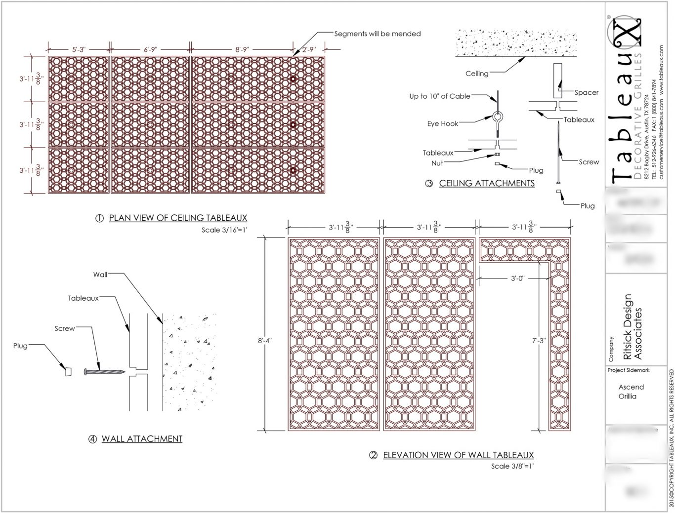 Tableaux Decorative Grilles Initial Shop Drawing for Champlain Waterfront Hotel