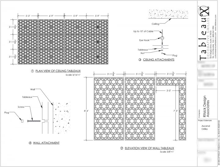 Tableaux Decorative Grilles Revised Shop Drawing for Champlain Waterfront Hotel