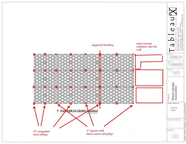 Tableaux Decorative Grilles for Champlain Waterfront Hotel Ceiling Décor Preliminary Drawing
