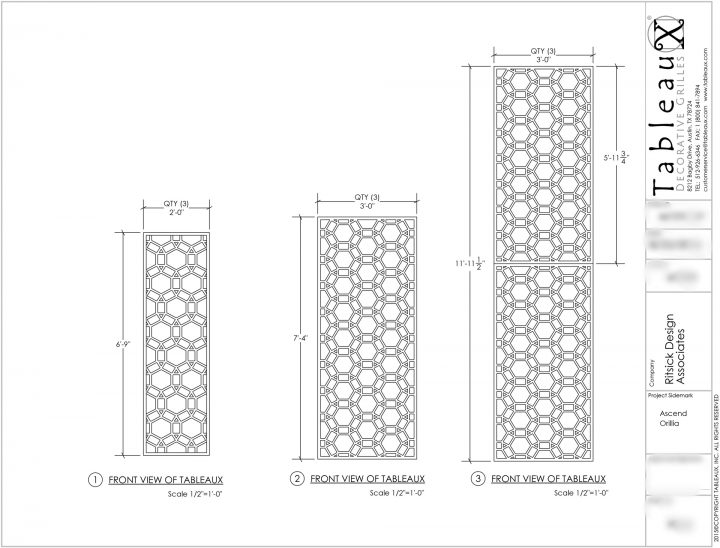 Tableaux Decorative Grilles Shop Drawing for Champlain Waterfront Hotel