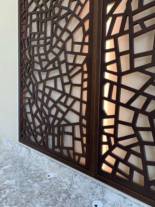 Tableaux Decorative Grilles framed with backlighting at St. Vincent de Paul Family Life Center