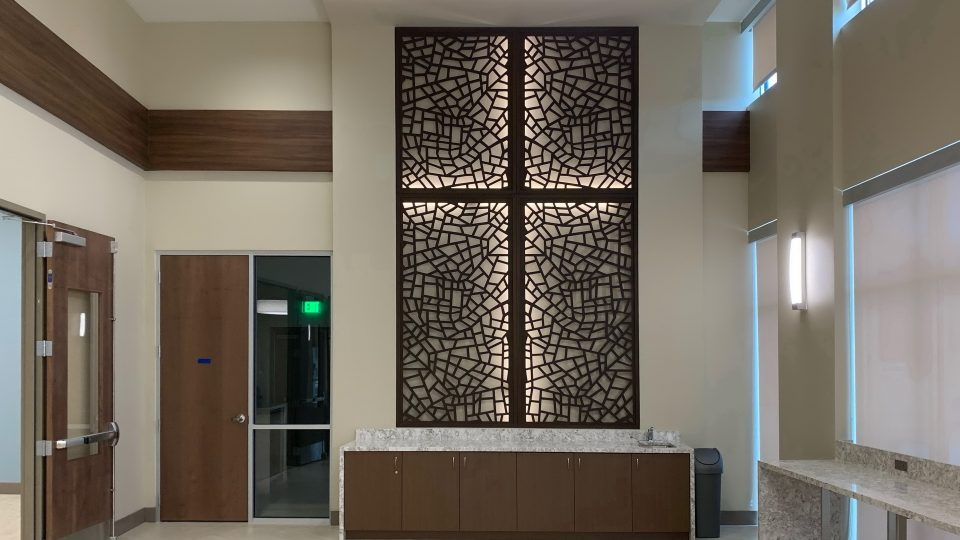 Tableaux Decorative Grilles with backlighting at St. Vincent de Paul Family Life Center