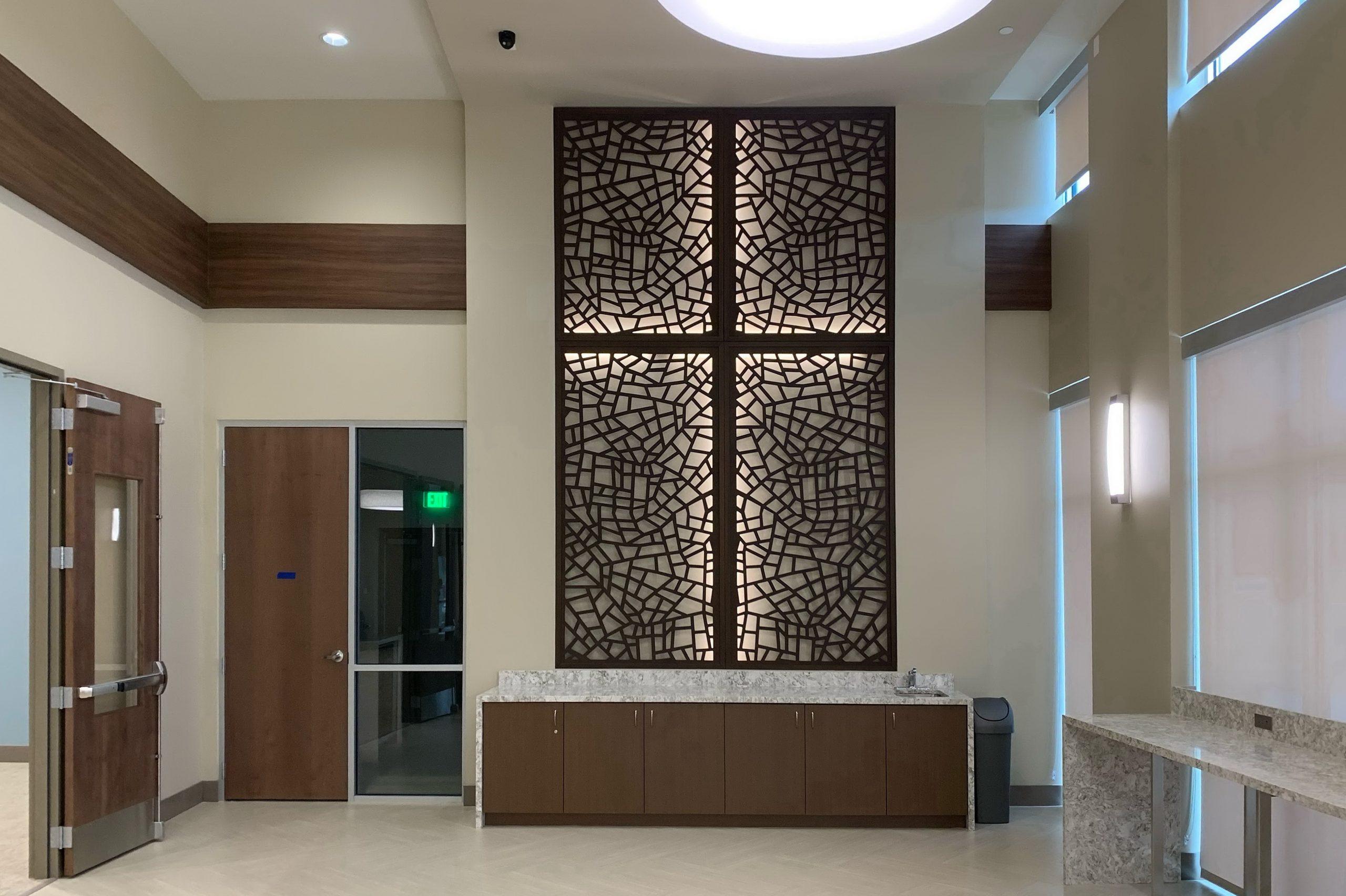 Tableaux Decorative Grilles with backlighting at St. Vincent de Paul Family Life Center