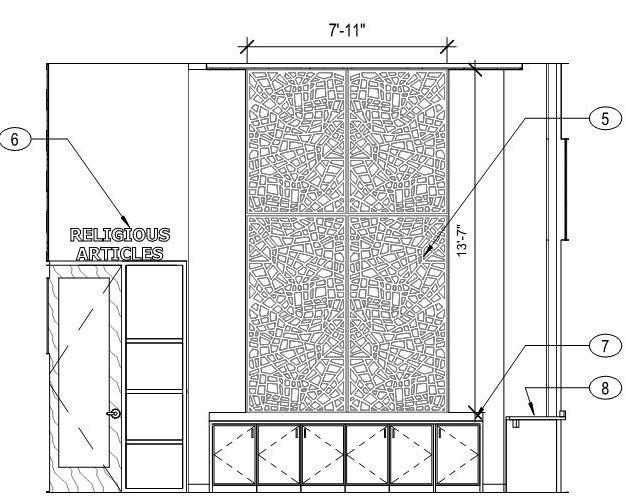 St. Vincent de Paul Family Life Center elevation section view of proposed Tableaux decorative grille